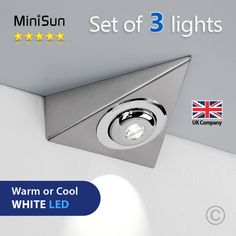 Enhance the lighting in your home with these superb plug-in under cabinet LED lighting kits. Each kit features three brushed chrome effect triangle lights with inbuilt LEDs. Perfect for use under cabinets, book shelves, kitchen cupboards and much more. | eBay!