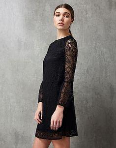 Womens black navy lace shift dress from Lipsy - £59 at ClothingByColour.com