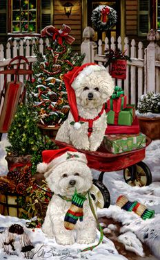 """New for 2015! Bichon Frise Christmas Holiday Cards are 8 1/2"""" x 5 1/2"""" and come in packages of 12 cards. One design per package. All designs include envelopes, your personal message, and choice of greeting.Select the inside greeting of your choice from the menu below.Add your custom personal message to the Comments box during checkout."""