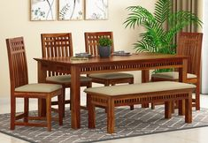 Buy Adolph 6 Seater Dining Set With Bench (Honey Finish) Online in India, Get Wooden Adolph 6 Seater Dining Set With Bench (Honey Finish) Wooden Street Four Seater Dining Table, Wooden Dining Table Designs, Dining Room Furniture Design, Dinning Table Design, Wooden Dining Set, Dining Set With Bench, Marble Top Dining Table, Wooden Sofa Designs, Chair Design Wooden