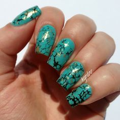 Image via turquoise stone nails Image via Turquoise Stone Nail Art & China Glaze Too Yacht To Handle Image via Super cool black marble & turquoise nail art Image via Turqoise Nails, Turquoise Nail Art, Turquoise Stone, Color Nails, Pink Nails, Hair And Nails, My Nails, Crazy Nails, Western Nails