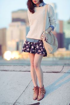 floral skirt, chambray shirt and sweater with booties