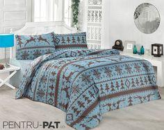 Set cuvertura pat pentru doua persoane Anatolia blue & brown