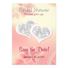 Double Heart Floral Invitations