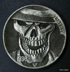 Hobo Nickel Skull by Shaun Hughes