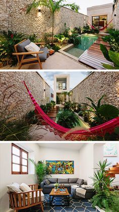 The Casa Picasso by Workshop Architects in Merida, Mexico is a beautiful modern home with an amazingly landscaped courtyard. Future House, My House, Beautiful Modern Homes, Merida Mexico, Pergola, Small Terrace, Narrow House, Wooden Decks, Backyard