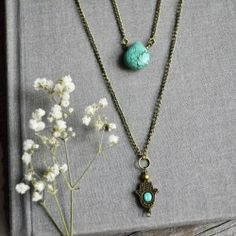 win a Turquoise and Hamas Layer #Necklace ^_^ http://www.pintalabios.info/en/fashion_giveaways/view/en/2123 #International #Jewelry #bbloggers #Giveaway