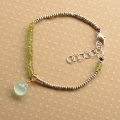 Chakra Bracelet, Peridot Bracelet, Healing Gemstone Bracelet, Hill Tribe Silver Beaded Bracelet, Yoga Bracelet