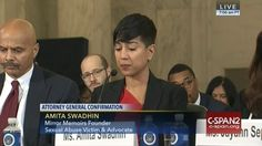Bravery personified. Raped by her father from age 4 to age 12 survivor Amita Swadhin testifies on Sessions nomination to lead the department of justice