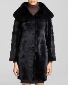 Maximilian Sheared Rex Rabbit Fur Coat | Bloomingdale's