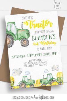 Tractor Birthday Invitations, Farm Party Invitations, Birthday Invitation Templates, 2nd Birthday Party Themes, 1st Boy Birthday, Boy Birthday Parties, Birthday Ideas, Party Ideas, Tractors
