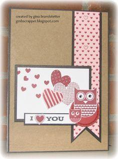 Kraft Valentine Card with Whooo's Your Valentine stamp