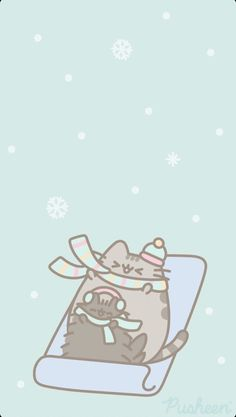 Pusheen is a tubby tabby cat who brings smiles and laughter to people all around the world! Gato Pusheen, Pusheen Love, Cat Wallpaper, Kawaii Wallpaper, Iphone Wallpaper, Cute Images, Cute Pictures, Cross Stitch Games, Cute Christmas Wallpaper