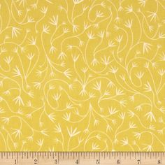 Grey Abbey Organic Gentile Vines Dandelion from @fabricdotcom  Designed by Elizabeth Olwen for Cloud 9 Fabrics, this organic cotton print fabric is perfect for quilting, apparel and home decor accents. This fabric has GOTS certification. Colors include yellow and white.