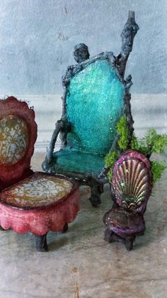 Enchanting Fairy Chairs https://www.facebook.com/onceuponafairy .....OOO! use one of those leftover seashells to make a fairy chair ....b...