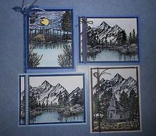 4 Handmade Cards Stampscapes Landscapes Rubberstamped, Embossed, Watercolored