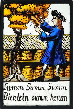 """Beekeeping ~ old German stained glass [""""zoom zoom zoom, little bees zoom around here""""]"""