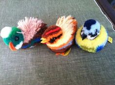 Three Vintage Steiff Wooly Pompoms Duck Hen and Colorful Bird | eBay