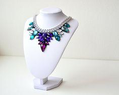 Silver Purple Rhinestone Gem Crystal Statement by GemsOver on Etsy