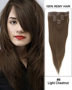 16 Inch 10pcs Straight Indian Clip In Remy Hair Extensions (#8 Light Chestnut) 135g