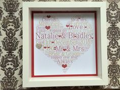 Gorgeous personalised word art wedding by Paperlilycrafts Love Me Do, Box Frames, Happily Ever After, Word Art, Wedding Day, 3d, Bride, Words, Unique Jewelry