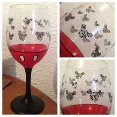 Mickey Mouse Hand Painted Wine Glass by TransparentCup on Etsy, $10.00