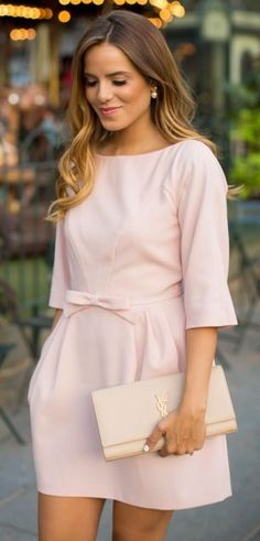 Love everything about this dress - fit, sleeve length, color, that BOW!
