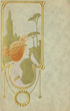 1910 Art Nouveau postcard by Raphael Kirchner