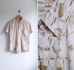 Vintage Mens 'Fishes of The Sea' Collared Shirt S-M