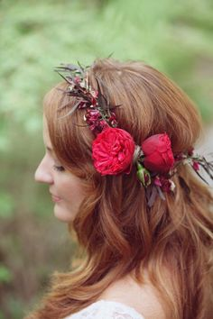 Wedding inspiration and ideas for destination weddings: Massachusetts wedding hair with floral headpiece