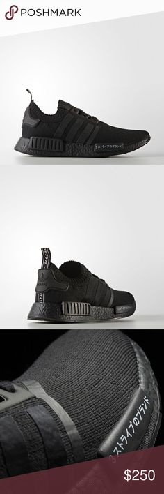 NMD R1 Primeknit (Japanese/ triple black) Brand new guaranteed authentic purchased from adidas and will include receipt. Sold out everywhere. adidas Shoes Sneakers