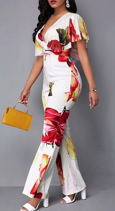 Latest African Fashion Dresses, African Dresses For Women, African Print Fashion, Chic Outfits, Fashion Outfits, Night Outfits, Summer Outfits, Jumpsuit With Sleeves, Fitted Jumpsuit
