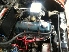 Nissan engine in a Morris Pickup Nissan, Engineering, Motorcycle, Floor, Frame, Pavement, Picture Frame, Boden, Motorcycles