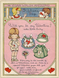 Joan Walsh Anglund Valentine's paper dolls--- I remember these! My Granny always saved them from her Good Houskeeping magazine for me! My Funny Valentine, Vintage Valentines, Valentine Cards, Paper Art, Paper Crafts, Cardboard Crafts, Foam Crafts, Joan Walsh, Vintage Paper Dolls