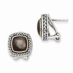 Sterling Silver w/14k Yellow Gold Black Mother of Pearl Earrings