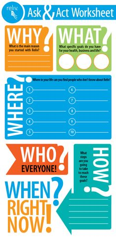 Looking for a fun worksheet to get you started in your Reliv business? Look no further! Here's the who, what, when, where, why and how of getting started!