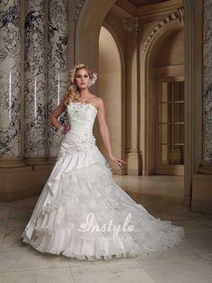 Asymmetrically Tiered Ball Gown Wedding Dress UK with Flowers Neckline
