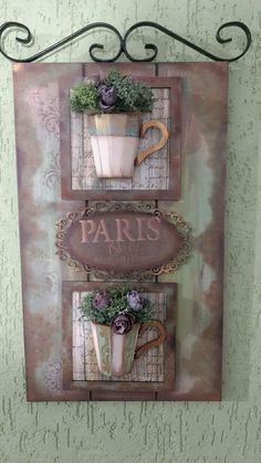 Lilian Martinez's media content and analytics Diy Arts And Crafts, Diy Crafts, Lavender Crafts, Wooden Keychain, Boho Wall Hanging, Cup Art, Decoupage Vintage, Country Crafts, Plate Design