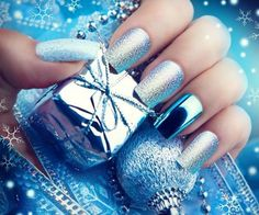 silver and chrome nail design