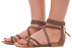 Lime Lush Boutique - Tan Strappy Studded Gladiator Sandal, $41.95 (http://www.limelush.com/tan-strappy-studded-gladiator-sandal/)
