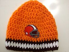Cleveland Browns Theme Adult Crochet Beanie