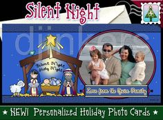 holiday photo card, christmas photo card, custom card, personalized card, nativity card, silent night