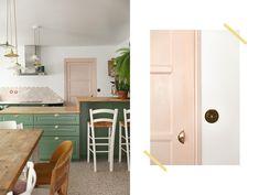 Avant / Apres Cuisine - Fait Maison - Maïa Chä Farrow Ball, Kitchen, Table, Furniture, Home Decor, Home Made, Home Decoration, Before After Kitchen, Mismatched Chairs