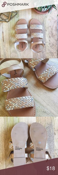 Tan and silver woven sandals Qupid | Tan and silver woven sandals with adjustable ankle strap. Super cute, versatile flats perfect for sun-soaked days! Never used; NWOT.   Size: 7.5 Qupid Shoes Sandals