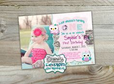 Printable Shabby chic owl birthday invitation, teal pink and purple wood cute owls lace, Digital file or professional prints by DazzleDesignGraphics on Etsy Shabby Chic Dining Room, Shabby Chic Garden, Shabby Chic Cottage, Shabby Chic Homes, Shabby Chic Birthday Party Ideas, Owl Birthday Invitations, Teal And Pink, Purple, Shabby Chic Baby Shower