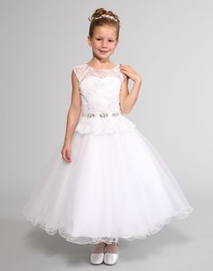 This beautiful dress by Sweetie Pie Collection has a satin bodice with tulle and lace overlay and an illusion neckline. The high waisted rhinestone band adds a . White Flower Girl Dresses, Girls Dresses, Wedding Dressses, Embroidered Caps, Illusion Neckline, Lace Overlay, Cap Sleeves, Beautiful Dresses, Lace Dress