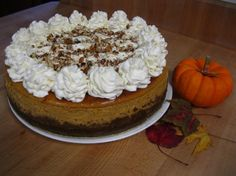 THE BEST EVER - Pumpkin Cheesecake (copycat Cheesecake Factory) - I like to add mini chocolate chips!
