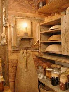 Primitive pantry in shades of brown