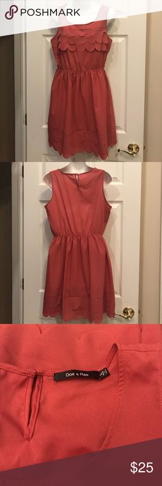 Doe & Rae Scallop Dress Pretty coral/ peachy pink color. Size large. Excellent condition. Dress is lined. Button closure in back! Elastic waist. Flowy. ModCloth Dresses