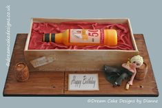 BEV ~ Edible WHISKEY BOTTLE in an edible CRATE with personalised character and detailing Designer Cakes, Dream Cake, Unique Cakes, Novelty Cakes, Centre Pieces, Celebration Cakes, Celebrity Weddings, Cake Designs, Luxury Wedding